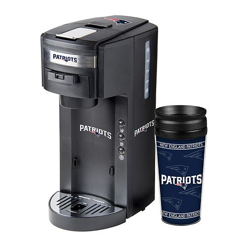 Boelter New England Patriots Deluxe Coffee Maker & 14-Ounce Travel Tumbler Mug