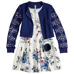 Girls 7-16 Beautees Floral Bomber Jacket & Sleeveless Dress Set with Poof Keychain