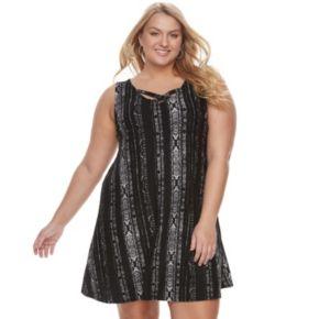 Juniors' Plus Size Mudd® Crisscross Skater Dress