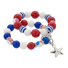Red, White & Blue Beaded Stretch Bracelet Set