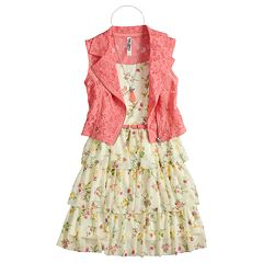 Girls 7-16 Beautees Floral Lace Vest & Tiered Ruffle Belted Dress Set with Necklace