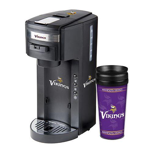 Boelter Minnesota Vikings Deluxe Coffee Maker & 14-Ounce Travel Tumbler Mug