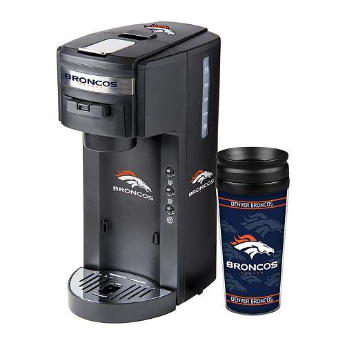 Boelter Denver Broncos Deluxe Coffee Maker & 14-Ounce Travel Tumbler Mug