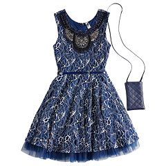 Girls 7-16 Beautees Embroidered Neckline Sleeveless Skater Dress with Purse
