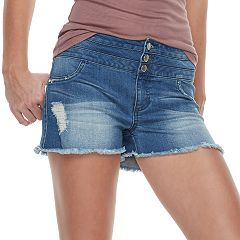 Juniors' Tinseltown Midrise Triple Stacked Frayed Hem Shorts