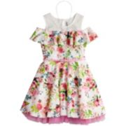 Girls 7-16 Beautees Floral Cold Shoulder Belted Skater Dress with Necklace