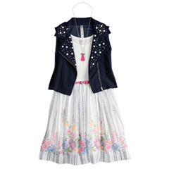Girls 7-16 Beautees Studded Moto Vest & Floral Belted Skater Dress Set with Necklace