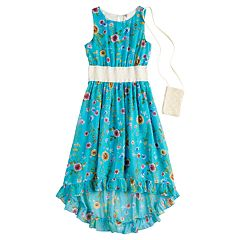 Girls 7-16 Beautees Floral Sleeveless High-Low Hem Midi Dress with Purse