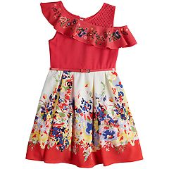 Girls 7-16 Beautees One Shoulder Ruffle Belted Skater Dress