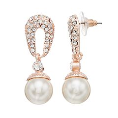 Rose Gold Tone Nickel Free Simulated Pearl  Drop Earrings
