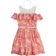 Girls 7-16 Beautees Ditzy Floral Cold Shoulder Belted Skater Dress with Necklace