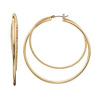 Napier Textured Double Hoop Earring