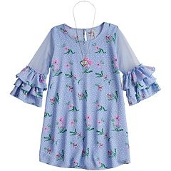 Girls 7-16 Beautees Floral Ruffled Sleeve Shift Dress with Necklace