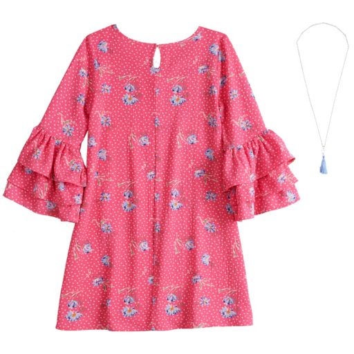 Girls 7-16 Beautees Ruffled Sleeve Shift Dress with Necklace