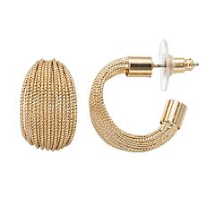 Napier Textured Open Hoop Stud Earrings