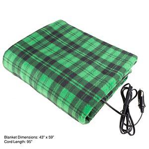 Stalwart 12-Volt Plaid Vehicle Electric Blanket
