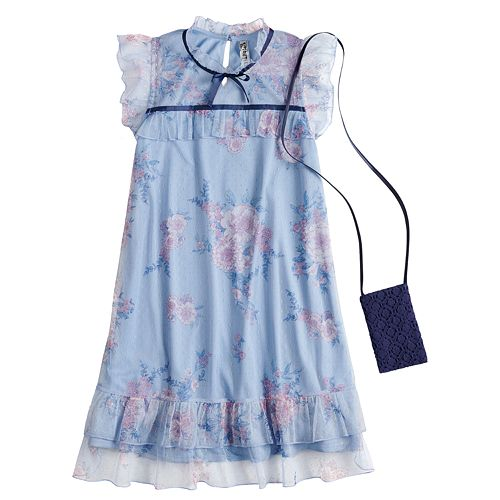 Girls 7-16 Beautees Floral Illusion Dress with Purse