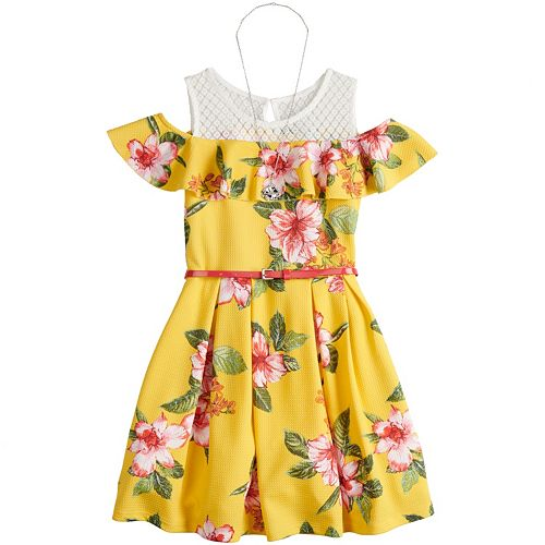816aabd911ac3 Girls 7-16 Beautees Floral Cold Shoulder Belted Skater Dress with ...