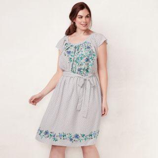 Plus Size LC Lauren Conrad Floral Pleated Dress