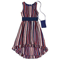 Girls 7-16 Beautees Striped High-Low Hem Midi Dress with Purse