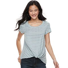 Juniors' Candie's® Striped Knot-Front Tee