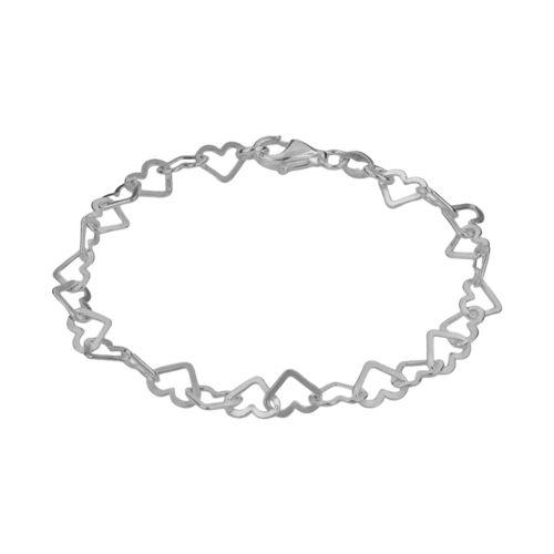 Sterling Silver Heart-Link Bracelet