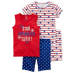 Girls 4-12 Carter's 'Star Spangled Cutie' American Flag Tops & Shorts Pajama Set