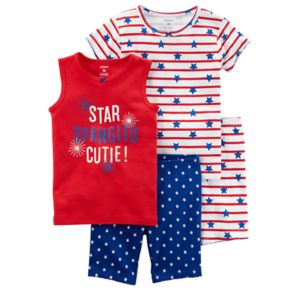 "Girls 4-12 Carter's ""Star Spangled Cutie"" American Flag Tops & Shorts Pajama Set"
