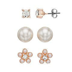 Simulated Pearl & Crystal Nickel Free Flower Stud Earring Set