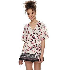 Juniors' Three Pink Hearts Printed Romper