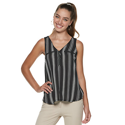 Juniors' Candie's Mixed-Media Zipper Tank Top
