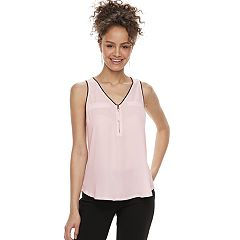 Juniors' Candie's® Mixed-Media Zipper Tank Top