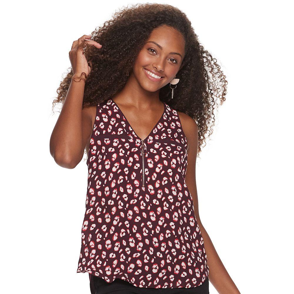 Juniors' Candie's® Mixed-Media Zipper Tank Top