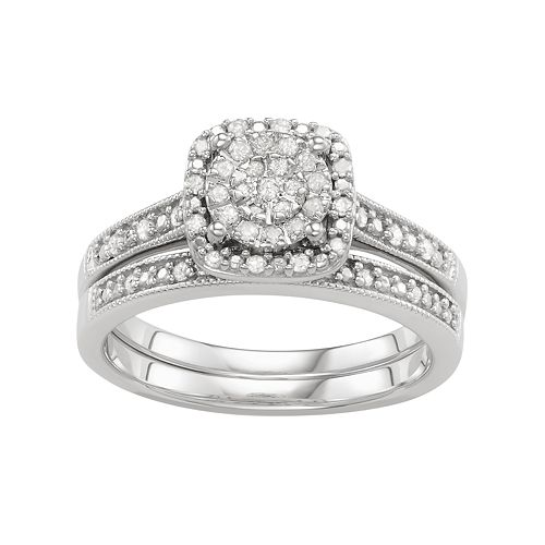 Sterling Silver 1/4 Carat T.W. Engagement Ring Set