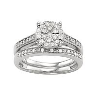 Sterling Silver 1/3 Ct. T.W. Diamond Engagement Ring Set