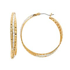 Napier Tone Textured Triple-Twist Hoop Earrings