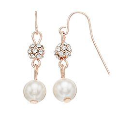 Rose Gold Tone Nickel Free Simulated Pearl  Ball Drop Earrings