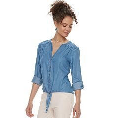 Juniors' Candie's® Tie-Front Chambray Top