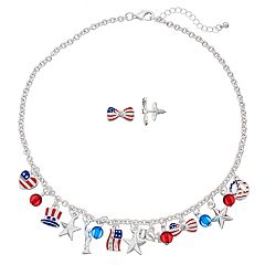 USA Flag Necklace & Bow Stud Earrings Set