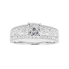 Lovemark 10k White Gold 1/2 Carat T.W. Diamond Cluster Ring