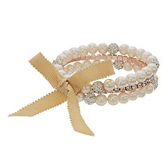Simulated Pearl & Simulated Crystal Stretch Bracelet Set