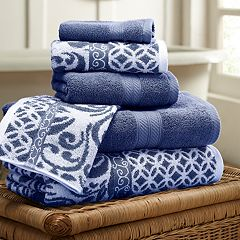 Allure 6-piece Trefoil Filigree Reversible Jacquard Bath Towel Set