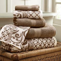 Allure 6 pc Trefoil Filigree Reversible Jacquard Bath Towel Set