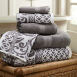 Allure 6 pc Trefoil Filigree Reversible Jacquard Bath Towel Set