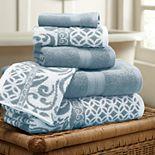 Allure 6-piece Trefoil Filigree Reversible Jacquard Bath Towel Set