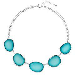 Aqua Uneven Cabochon Necklace