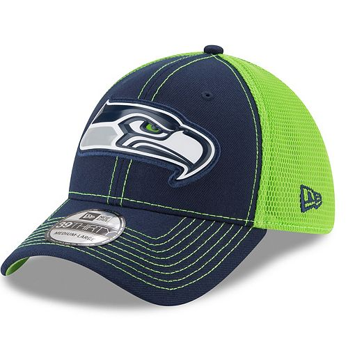 Adult New Era Seattle Seahawks 39THIRTY Fan Mesh Flex-Fit Cap