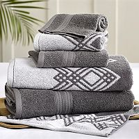 Allure 6-piece Popcorn Diamond Reversible Jacquard Bath Towel Set