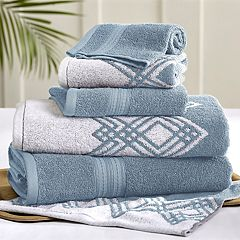 Allure 6-piece Popcorn Diamond Reversible Jacquard Bath Towel Set
