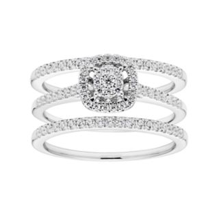 Lovemark 10k White Gold 1/2 Carat T.W. Diamond Cluster Engagement Ring Set